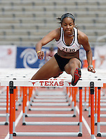 Ryan Dupree here winning the 100m hurdles with a time of 13.54sec. in the heptathlon. Dupree is in 2nd. place with 3404 points behind Pickler's 3578 points after day one on Wednesday, April 2nd. 2008 at the Texas Relays. Photo by Errol Anderson, The Sporting Image.