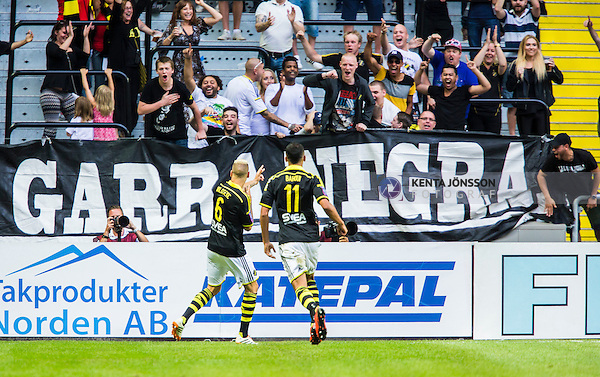 Solna 2014-07-12 Fotboll Allsvenskan AIK - Kalmar FF :  <br /> AIK:s Alexander Milosevic ha gjort 2-0 och jublar med AIK:s supportrar<br /> (Foto: Kenta J&ouml;nsson) Nyckelord:  AIK Gnaget Friends Arena Kalmar KFF jubel gl&auml;dje lycka glad happy supporter fans publik supporters