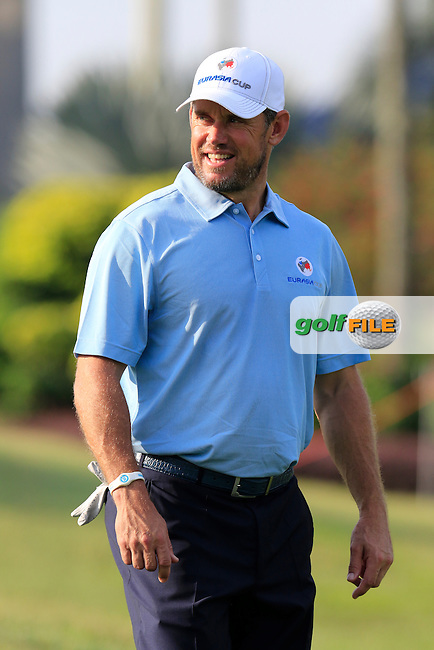 Lee Westwood (ENG) European Team walks off the 1st tee during Pro-Am Day of the 2016 Eurasia Cup held at the Glenmarie Golf &amp; Country Club, Kuala Lumpur, Malaysia. 14th January 2016.<br /> Picture: Eoin Clarke | Golffile<br /> <br /> <br /> <br /> All photos usage must carry mandatory copyright credit (&copy; Golffile | Eoin Clarke)