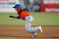 Midland RockHounds shortstop Darwin Perez (17) runs to second base during the Texas League baseball game against the San Antonio Missions on July 13, 2013 at Nelson Wolff Municipal Stadium in San Antonio, Texas. The Missions defeated the Rock Hounds 5-4. (Andrew Woolley/Four Seam Images)
