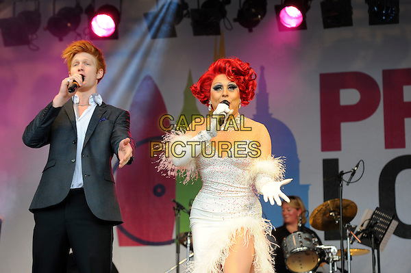 LONDON, UK, JUNE 28: Drag Queen performs live on stage at Pride London in Trafalgar Square on June 28th 2014 in London, England, UK.<br /> CAP/MAR<br /> &copy; Martin Harris/Capital Pictures