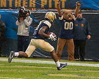 Pitt wide receiver Maurice Ffrench makes a 50-yard touchdown catch. The Pitt Panthers football team defeated the Duke Blue Devils 54-45 on November 10, 2018 at Heinz Field, Pittsburgh, Pennsylvania.