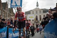 Tiesj Benoot (BEL/Lotto-Soudal) to the start<br /> <br /> 71st Dwars door Vlaanderen (1.HC)