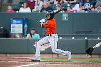 Jason Martin (6) of the Buies Creek Astros follows through on his swing against the Winston-Salem Dash at BB&T Ballpark on April 15, 2017 in Winston-Salem, North Carolina.  The Astros defeated the Dash 13-6.  (Brian Westerholt/Four Seam Images)