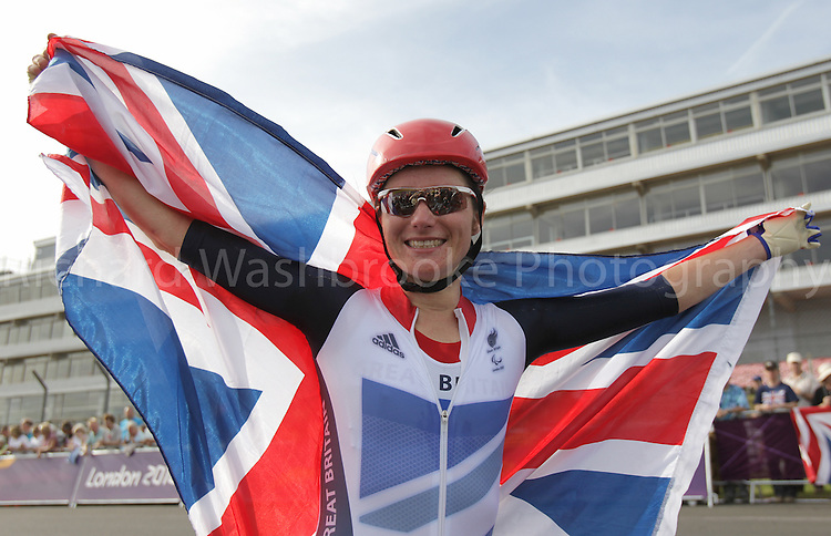 Paralympics London 2012 - ParalympicsGB - Cycling Road..Sarah Storey celebrates winning the Gold Medal after competing the Women's Individual C 4-5 Road Race held at Brands Hatch  6th September 2012 Paralympic Games in London. Photo: Richard Washbrooke/ParalympicsGB
