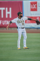 Jo Adell (26) of the Salt Lake Bees during the game against the New Orleans Baby Cakes at Smith's Ballpark on August 4, 2019 in Salt Lake City, Utah. The Baby Cakes defeated the Bees 8-2. (Stephen Smith/Four Seam Images)