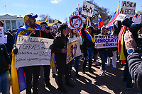 Washington, DC - March 16, 2019: Hundreds of people gather in front of the White House and march in Washington, D.C. to protest political events in Venezuela March 16, 2019.  (Photo by Don Baxter/Media Images International)