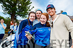 Anna McGrath, Laura Looney and Lily O'Connor, with Michael Fassbender <br />  Hollywood actor Michael Fassbender visiting St Bridgets Presentation Secondary School in Killarney.