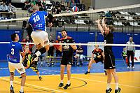 GRONINGEN - Volleybal, Lycurgus - Taurus, Supercup, seizoen 2018-2019, 29-09-2018,  Lycurgus speler Dennis Borstslaat de bal hard over het net