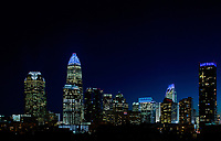 Skyline photography of the Charlotte NC downtown center city. Photo takenfrom the northeast edge of town (off Brookshire Freeway) toward Charlotte. Image is part of a series of Charlotte skyline photographs taken over several years, from more than a dozen angles, and with different weather scenes. Images are available for licensing and as framed art.<br /> <br /> Charlotte Photographer  - PatrickSchneiderPhoto.com