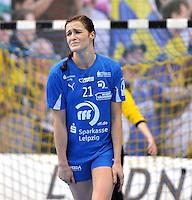 Handball 1. Bundesliga Frauen 2013/14 - Handballclub Leipzig (HCL) gegen Thüringer HC (THC) am 30.10.2013 in Leipzig (Sachsen). <br /> IM BILD: Karolina Szwed Örneborg / Oerneborg (HCL) verzieht das Gesicht nach einer misslungenen Aktion <br /> Foto: Christian Nitsche / aif