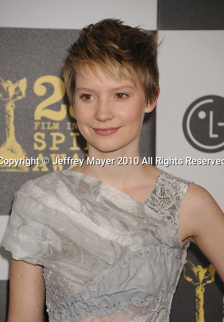 LOS ANGELES, CA. - March 05: Actress Mia Wasikowska arrives at the 25th Film Independent Spirit Awards held at Nokia Theatre L.A. Live on March 5, 2010 in Los Angeles, California.