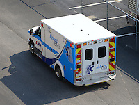 Sep 24, 2016; Madison, IL, USA; An ambulance during NHRA qualifying for the Midwest Nationals at Gateway Motorsports Park. Mandatory Credit: Mark J. Rebilas-USA TODAY Sports