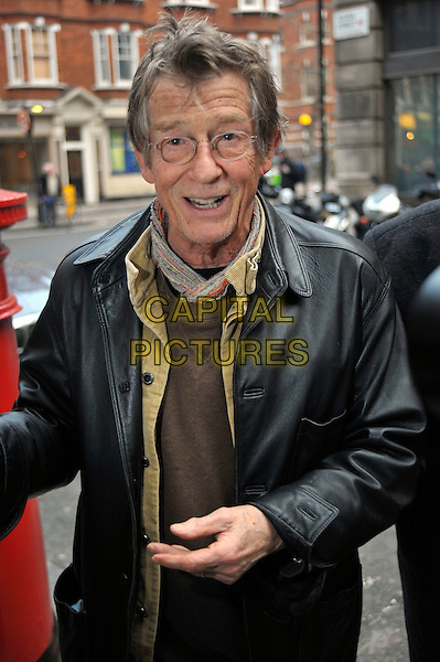 JOHN  HURT <br /> Arriving at the BBC Radio 2 building in central London, England, UK, <br /> January 15th 2010.<br /> half length glasses black leather coat jacket hand <br /> CAP/DYL<br /> &copy;Dylan/Capital Pictures