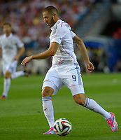 MADRID - ESPAÑA - 22-08-2014: Karim Benzema, jugador de Real Madrid durante partido de vuelta de la Super Copa de España, Atletico de Madrid  y Real Madrid, en el estadio Vicente Calderon de la ciudad de Madrid, España. Karim Benzema,  player of Real Madrid during a match for the second leg, between Atletico de Madrid  y Real Madrid of the Super Copa de España in the Vicente Calderon stadium in Madrid, Spain  Photo: Asnerp / Patricio Realpe / VizzorImage.<br /> Cristiano Ronaldo