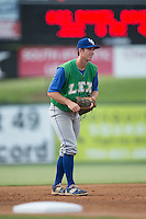 Lexington Legends third baseman Mike Hill (11) on defense against the Kannapolis Intimidators at Kannapolis Intimidators Stadium on July 14, 2016 in Kannapolis, North Carolina.  The Kannapolis Intimidators defeated the Lexington Legends 4-2.  (Brian Westerholt/Four Seam Images)