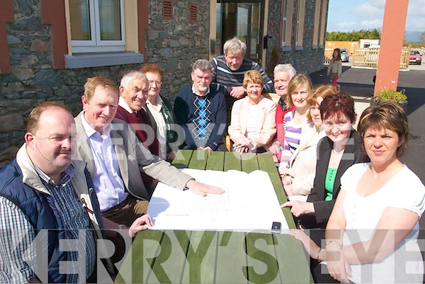 FUNDING: Studying plans for improvement works to Listry Community & Childcare Centre on Sunday were, l-r: Cllr. Colin Miller, George Kelly, Ted Scannell, Joan Curran, Tony Darmody, Timothy Sheehan, Margaret Gallagher, Michael Leslie, Annette Broderick, Brenda Courtney, Margaret Lehane, Fiona Whelton.   Copyright Kerry's Eye 2008