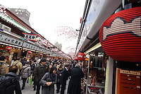 The approach to Sensoji temple, Asakusa, Tokyo, Japan, February 19, 2011.Yagenbori, founded in 1625 was the first to produce the now popular Japanese condiment, shichimi.