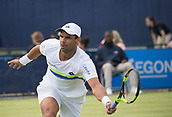 June 11th 2017, Nottingham, England; ATP Aegon Nottingham Open Tennis Tournament day 2;  Alejandro Falla of Columbia reaches for a forehand volley