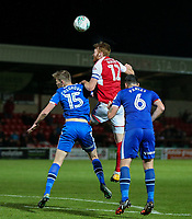 Fleetwood Town's Cian Bolger competing in the air <br /> <br /> Photographer Andrew Kearns/CameraSport<br /> <br /> The Carabao Cup First Round - Fleetwood Town v Carlisle United Kingdom - Tuesday 8th August 2017 - Highbury Stadium - Fleetwood<br />  <br /> World Copyright &copy; 2017 CameraSport. All rights reserved. 43 Linden Ave. Countesthorpe. Leicester. England. LE8 5PG - Tel: +44 (0) 116 277 4147 - admin@camerasport.com - www.camerasport.com