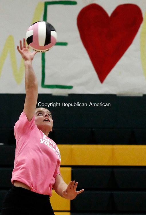 Waterbury, CT- 23 October 2014-102314CM10- Holy Cross' Kristina Razza reaches up for the ball during their volleyball matchup against Northwestern Regional in Waterbury on Thursday.  Christopher Massa Republican-American