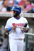 Buffalo Bisons shortstop Jose Reyes #1, on the last day of his rehab assignment from the Toronto Blue Jays, during a game against the Durham Bulls on June 24, 2013 at Coca-Cola Field in Buffalo, New York.  Durham defeated Buffalo 7-1.  (Mike Janes/Four Seam Images)
