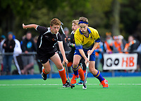 Action from the 2019 Hatch Cup Under-13 Boys' Hockey Tournament match between Bay Of Plenty and Hawkes Bay at Fitzherbert Park Twin Turfs in Palmerston North, New Zealand on Friday, 11 October 2019. Photo: Dave Lintott / lintottphoto.co.nz