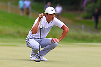 Li Haotong on the 4th green during the BMW PGA Golf Championship at Wentworth Golf Course, Wentworth Drive, Virginia Water, England on 27 May 2017. Photo by Steve McCarthy/PRiME Media Images.