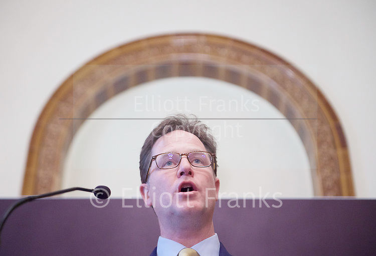 Nick Clegg MP <br /> former leader of the LibDems<br /> speech at the National Liberal Club, London, Great Britain <br /> 2nd May 2017 <br /> <br /> General Election 2017 rally speech <br /> Nick Clegg MP <br /> <br /> <br /> <br /> <br /> Photograph by Elliott Franks <br /> Image licensed to Elliott Franks Photography Services
