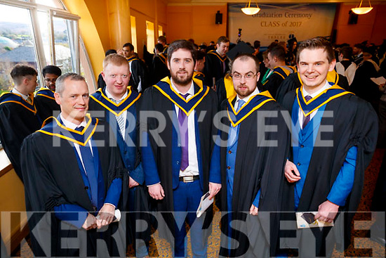 Mike Leane, (Milltown, Computer Services Management) Sean Hayes (Milltown, Computer Science) William Moriarty (Tralee, Computer Science with Multimedia), Christopher O'Brien (Shanagolden, Limerick, Computer Science with Software Development) and Sean Gibbs (Caherslee Tralee, Computer Science with Software Development), pictured at the IT Tralee graduation ceremony held at the Brandon Hotel Conference Centre, Tralee on Friday last.