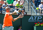 Roger Federer (SUI) during his quarterfinal match against Tomas Berdych (CZE). Federer dispatched Berdych in a swift 64 60 to advance to the semifinals of the BNP Parisbas Open in Indian Wells, CA on March 20, 2015.