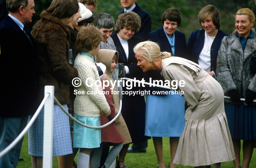 Duchess of Kent meets the families of staff at Hillsborough Castle, N Ireland, during the duchess's April 3 and 4, 1984 visit to the Province. 198404030044j..Copyright Image from Victor Patterson, 54 Dorchester Park, Belfast, UK, BT9 6RJ..Tel: +44 28 9066 1296.Mob: +44 7802 353836.Voicemail +44 20 8816 7153.Skype: victorpattersonbelfast.Email: victorpatterson@me.com.Email: victorpatterson@ireland.com (back-up)..IMPORTANT: If you wish to use this image or any other of my images please go to www.victorpatterson.com and click on the Terms & Conditions. Then contact me by email or phone with the reference number(s) of the image(s) concerned.