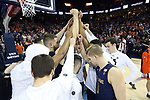 CHARLOTTESVILLE, VA - MARCH 03: Notre Dame players huddle before the game. The University of Virginia Cavaliers hosted the University of Notre Dame Fighting Irish on March 3, 2018 at John Paul Jones Arena in Charlottesville, VA in a Division I men's college basketball game. Virginia won the game 62-57.