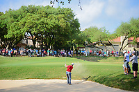 Jon Rahm (ESP) hits from the trap on 7 during round 6 of the World Golf Championships, Dell Technologies Match Play, Austin Country Club, Austin, Texas, USA. 3/26/2017.<br /> Picture: Golffile | Ken Murray<br /> <br /> <br /> All photo usage must carry mandatory copyright credit (&copy; Golffile | Ken Murray)