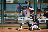 Cullen Moes (7) of St. Bonaventure High School in Ventura, California during the Baseball Factory All-America Pre-Season Tournament, powered by Under Armour, on January 14, 2018 at Sloan Park Complex in Mesa, Arizona.  (Art Foxall/Four Seam Images)