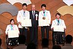 (L-R) Momoka Muraoka, Yoshihiro Nitta, Mitsunori Torihara, Gurimu Narita, Taiki Morii (JPN), MARCH 19, 2018 : Pyeongchang 2018 Winter Paralympics Japan Delegation disbandment ceremony in Tokyo, Japan. (Photo by Naoki Nishimura/AFLO SPORT)