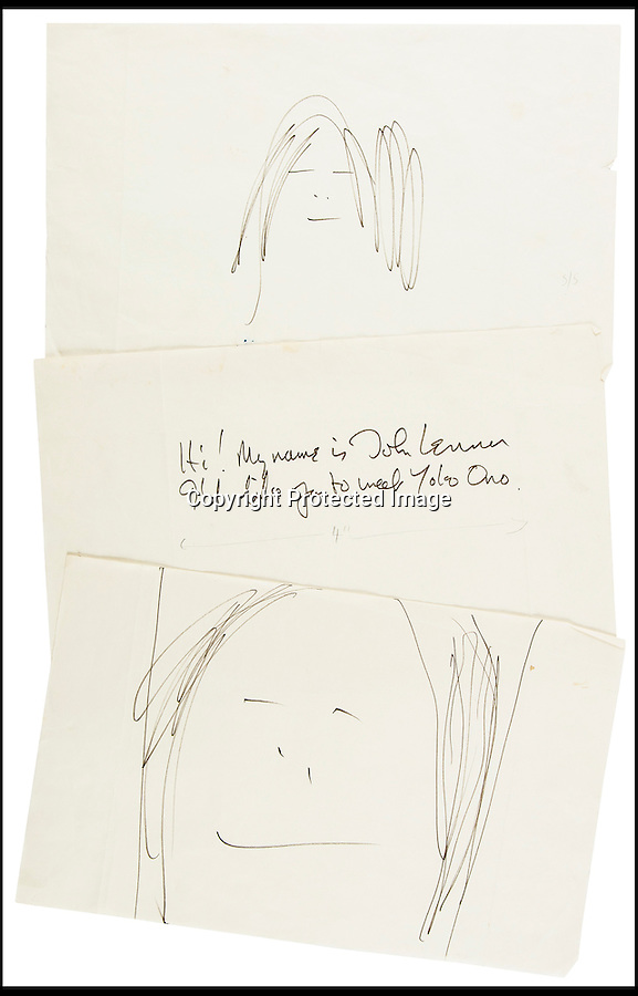 """BNPS.co.uk (01202) 558833<br /> Picture: BloomsburyAuctions/BNPS<br /> <br /> ****Please use full byline****<br /> <br /> A never-before-seen self-portrait doodle by John Lennon has emerged for sale.<br /> <br /> The Beatle quickly drew the child-like picture of his own face after he was asked to contribute to wife Yoko Ono's artist's book Grapefruit.<br /> <br /> He produced an equally-rushed portrait of his Japanese wife along with a witty introduction to her book on art.<br /> <br /> Lennon wrote: """"Hi my name is John Lennon. I'd like you to meet Yoko Ono.'<br /> <br /> Now, the original manuscript for the 13 word introduction and the two works of 'art' are being sold for an estimated £6,000."""