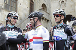 Mark Renshaw (AUS) and Mark Cavendish (GBR) Omega Pharma-Quick Step arrive at sign on in San Gimignano before the start of the 2014 Strade Bianche race over the white dusty gravel roads of Tuscany, Italy. 8th March 2014.<br /> Picture: Eoin Clarke www.newsfile.ie