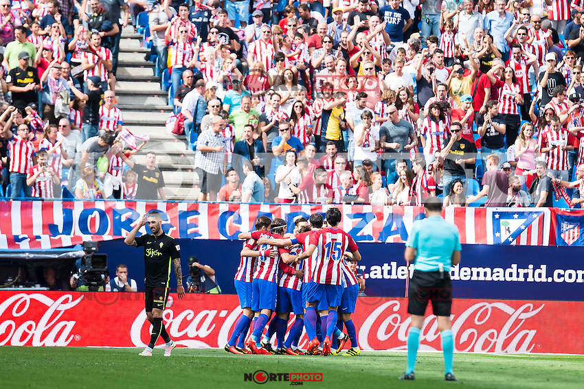 Atletico de Madrid's celebrating a goal during a match of La Liga Santander at Vicente Calderon Stadium in Madrid. September 17, Spain. 2016. (ALTERPHOTOS/BorjaB.Hojas) /NORTEPHOTO