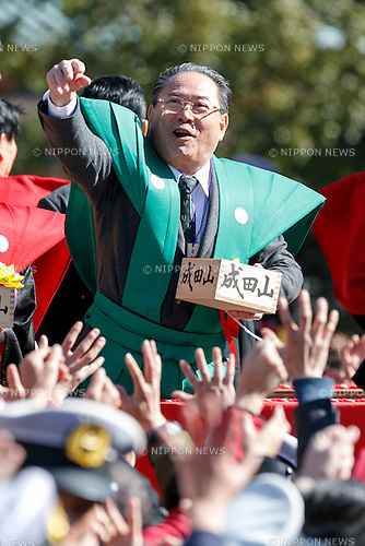 Japanese actor Gin Maeda, takes part in the Setsubun festival at Naritasan Shinshoji Temple on February 3, 2017, in Chiba, Japan. Setsubun is an annual festival celebrated on February 3rd marking the day before the beginning of Spring. Japanese families throw soybeans out of the house to ward off evil spirits and into the house to invite good fortune. Japanese actors and sumo wrestlers are invited to participate in the ceremony at Naritasan Shinshoji Temple which holds one of the biggest events in Japan. (Photo by Rodrigo Reyes Marin/AFLO)