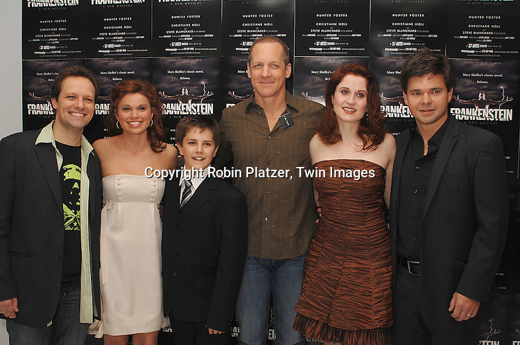 """Jim Stanek, Mandy Bruno and costars Struan Erlenborn, Steve Blanchard, Christiane Noll and Hunter Foster..at The Opening night of the new Off-Broadway Musical """"Frankenstein""""  on November 1, 2007 at The 37 Arts Theatre and at the party at Studio 450. Mandy Bruno of Guiding Light is one of the stars of the show. ....Robin Platzer, Twin Images..212-935-0770"""