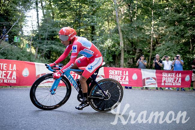 red jersey (overall leader) Nairo Quintana (COL/Movistar)<br /> <br /> stage 10 (ITT): Jurançon to Pau (36.2km > in FRANCE)<br /> La Vuelta 2019<br /> <br /> ©kramon