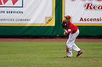 Stony Brook Seawolves outfielder Travis Jankowski #6 catches a fly ball during the NCAA Super Regional baseball game against LSU on June 9, 2012 at Alex Box Stadium in Baton Rouge, Louisiana. Stony Brook defeated LSU 3-1. (Andrew Woolley/Four Seam Images)