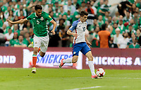 Mexico City, Mexico - Sunday June 11, 2017: Diego Reyes, Christian Pulisic during a 2018 FIFA World Cup Qualifying Final Round match with both men's national teams of the United States (USA) and Mexico (MEX) playing to a 1-1 draw at Azteca Stadium.