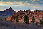 Red rock formations and clouds over the Kolob Terrace, Zion National Park, Utah