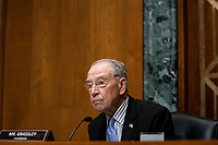 United States Senator Chuck Grassley (Republican of Iowa), Chairman, US Senate Committee on Finance, speaks during a hearing about the 2020 Filing Season and IRS COVID-19 Recovery at the U.S. Capitol in Washington DC on June 30th, 2020.<br /> Credit: Anna Moneymaker / Pool via CNP /MediaPunch