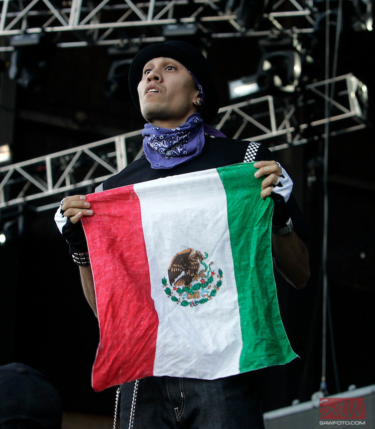 LOS ANGELES,CA - AUGUST 09,2008: Special suprise guests Black Eyed peas perform at Rock the Bells concert. Taboo of Black Eyed peas shows his colors during concert at Glen Helen Pavilion August 9, 2008 for Rock the Bells concert.