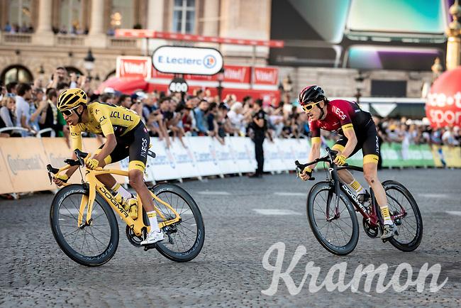 Yellow Jersey Egan Bernal (COL/Ineos) and Geraint Thomas (GBR/Ineos) riding the Champs-Elysées cobbles. <br /> <br /> Stage 21: Rambouillet to Paris (128km)<br /> 106th Tour de France 2019 (2.UWT)<br /> <br /> ©kramon