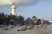 Beach and El Faro lighthouse in Playa del Carmen, Quintana Roo, Mexico