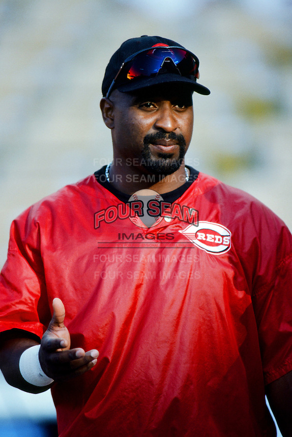 Greg Vaughn of the Cincinnati Reds before a 1999 Major League Baseball season game against the Los Angeles Dodgers in Los Angeles, California. (Larry Goren/Four Seam Images)